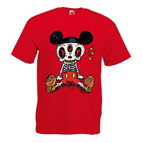 Männer T-Shirt Skelett Einer Maus (X-Large Rot Mehrfarben)