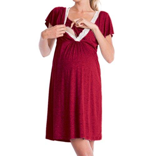 WEIMEITE Umstandskleid Pflege Nachthemd für stillen Nachthemd Nachtwäsche Neue Ankunft Weinrot L