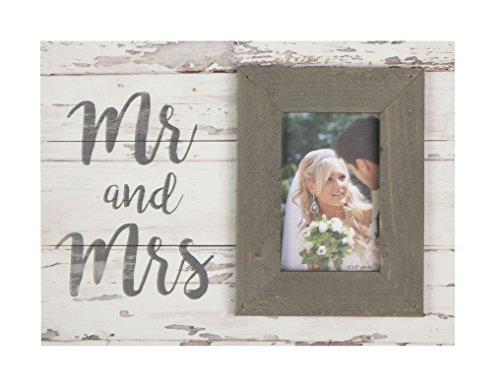 P. Graham Dunn Mr & Mrs Script Whitewash 17.5 x 17 Wood Wall Hanging Photo Frame Plaque