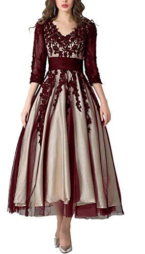 Royaldress Neu Schoen V-Ausschnitt Spitze Abendkleider Brautmutterkleider silberhochzeit Kleider ballkleid Langarm wadenlang 42 -Burgundy