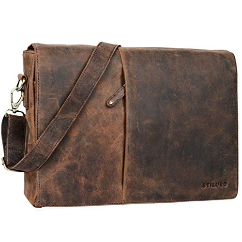 STILORD 'Joel' Messenger Bag Leder Herren Damen Umhängetasche Aktentasche Uni Schultertasche Büro Office Vintage echtes Leder, Farbe:Sepia - braun