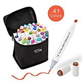 40 Colors Art Markers, Dual Tip Alcohol Marker, Permanent Art Markers for Kids, Highlighter Pen Sketch Markers for Drawing Sketching Adult Coloring, Alcohol-Based Markers, Bonus 1 Colorless Blender