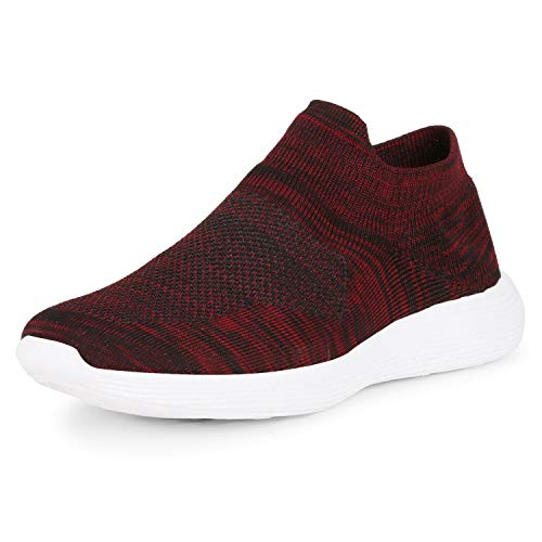 Kraasa Socksfit Sports Shoes for Men | Walking Shoes | Casual Sneakers | Running Shoes for Men Red