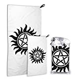 Supernatural Emblem 2in1 Microfiber Quick Dry Towel Lightweight for Travel Backpacking Camping Beach Workout