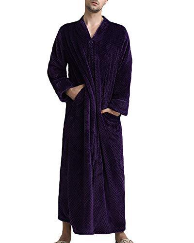 Albornoz para Hombre y Mujer Largo, Suave y Ligero Camisón Robe,Ropa de Dormir Pijama Cremallera, para SPA Hotel Sauna Hombre Púrpura XL