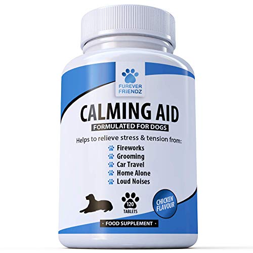 Natural Calming Supplements for Dogs - 120 Non Drowsy Chicken Flavour Supplements - Relieves Stress & Anxiety related to Fireworks, Grooming, Loud Noises, Car Journeys, Separation & Aggression