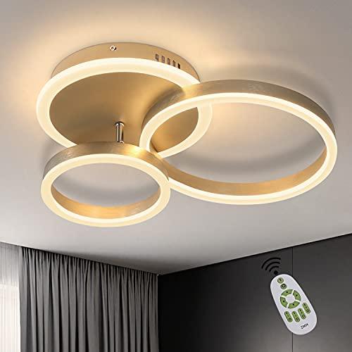 ZMH Lámpara de techo LED, lámpara de techo para salón, regulable, diseño moderno de 3 anillos