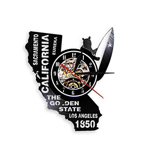 Eureka The Golden State California State Home Wall Clock Sacramento Los Angeles Vinyl Record Wall Clock USA Travel Souvenir Gift with led