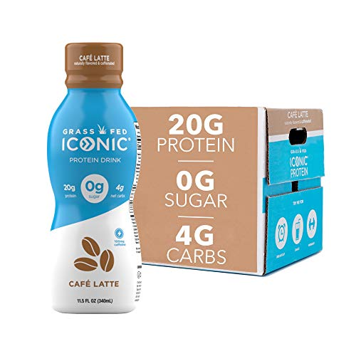 Iconic Beverages Protein Drinks Cafe Latte 12 Pack | Low Carb High Protein | 20G Protein  180mg Caffeine | Grass Fed Lactose Free Gluten Free NonGMO Kosher | Keto Friendly