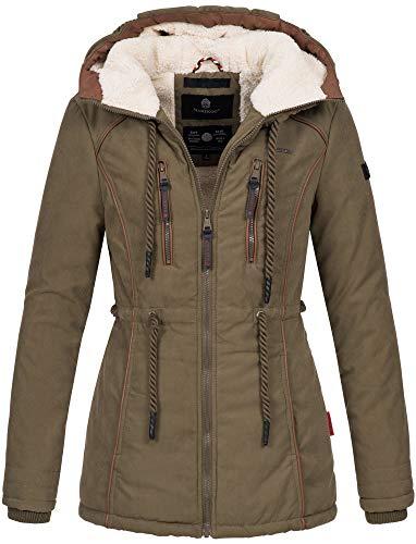 Marikoo Damen Winter Jacke warme Winterjacke Parka Mantel Teddyfell B610 [B610-Mai-Grün-Gr.M]