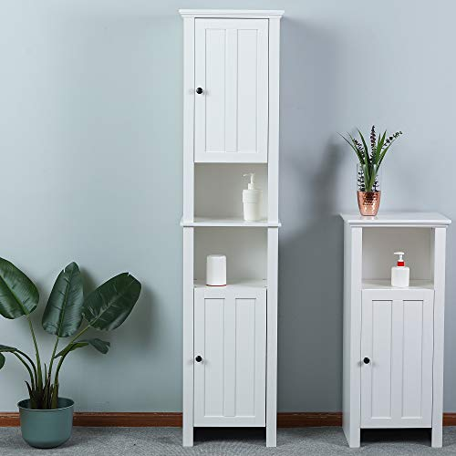 Overstock Tall White Bathroom Tower Cabinet