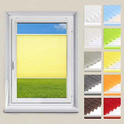 OUBO Plissee Jalousie Faltrollo Klemmfix ohne Bohren mit Klemmträger (Gelb, B35cm x H130cm) Sonnenschutz und Sichtschutz Easyfix lichtdurchlässig Rollo für Fenster & Tür