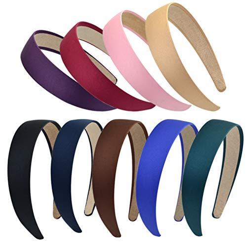 baotongle 9 Stück Satin Stirnbänder Harte Stirnbänder 1 Zoll Breites Haarband DIY Haarschmuck für Damen Mädchen