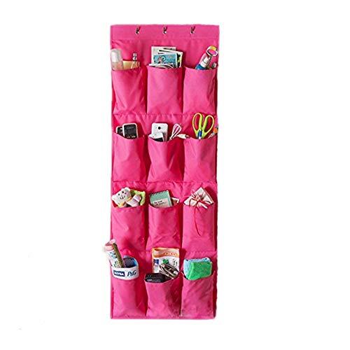 Addfun® Schuhregal, 12 Taschen Über Tür hängen Schuh Storage Rack Bag mit Garderobenhaken, alle Arten von kleinen Objekte Pouch Red