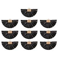 Artibetter 10個puレザー扇形ペンダントチャームレトロネックレスビーズチャームイヤリングコネクタハンガーdiyクラフトジュエリーブレスレット作る用品黒