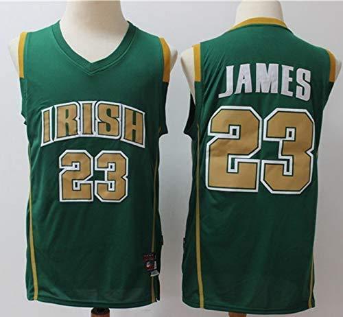 CCKWX NBA Jersey Cleveland Cavaliers 23# Lebron James Maniche Basket Moda Maschile Maglietta Respirabile Freddo Top,Verde,S:170cm/50~65kg