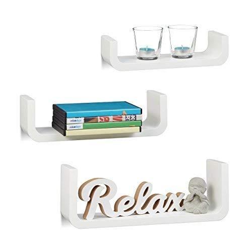 Relaxdays Wandregal 3er Set, dekorative U-form Wandboards, kleine Holz-Regalbretter 10 cm tief, bis 40 cm breit, weiß