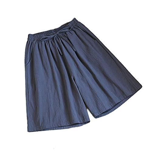 ZKYUCHUN Damshorts sommar vardaglig solid bomull linne shorts hög midja lösa shorts för flickor mjuka coola damshorts M-3XL färg1 3XL
