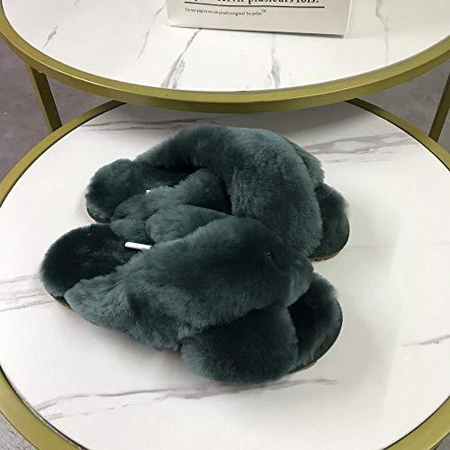N/A Flip Flop Notizblöcke, klimatisierte Hausschuhe, warme Flip Flip Flop Hausschuhe mit flachem Boden - Dunkelgrün_37