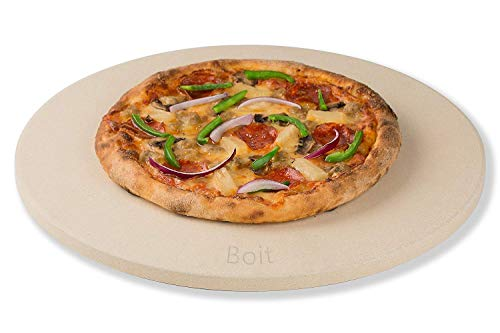 Boit Pizza Stone for Best Crispy Crust Pizza. Durable, Certified Safe, for Ovens & Grills. 14 Round 5/8 Thick