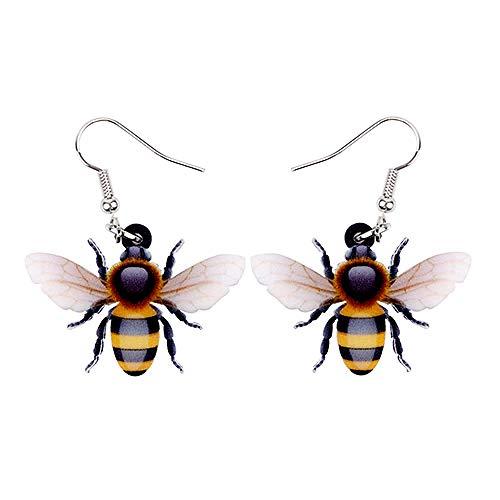 Acrílico volador miel abeja insecto pendientes grandes largo colgante animal joyas para las mujeres niñas damas adolescentes regalo para las mujeres niñas damas adolescentes niños regalo multicolor