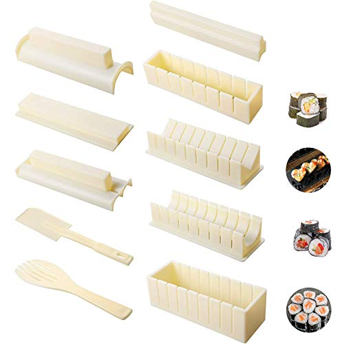 Sushi Making Kit10 Pieces Plastic Rice Roll Sushi Maker Tool Complete with 8 Sushi Mold Shapes Fork Spatula DIY Home Sushi Tool