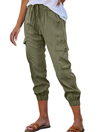 ROSKIKI Womens Casual Lightweight Joggers Pants Drawstring Sweatpant with Cargo Pocket Activewear