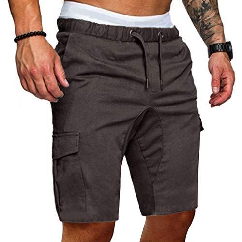 Sommer Kurze Hose für Herren,Skxinn Männer Kordelzug Sports Shorts Sommer Casual Bermudas Strand Jogging Hosen Vintage Taschen Hosen S-2XL Ausverkauf(Dunkelgrau,Large)