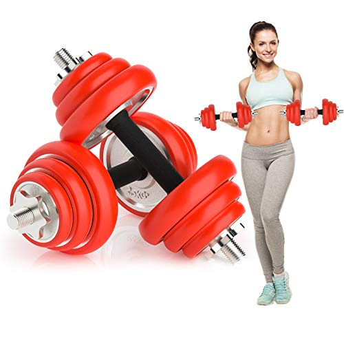 LIVHOOU Juego de Mancuernas 2 en 1 Kit Mancuernas Musculación ,Multifuncional Barra Ajustable Pesas para Gimnasio Ejercicio Fitness en Casa