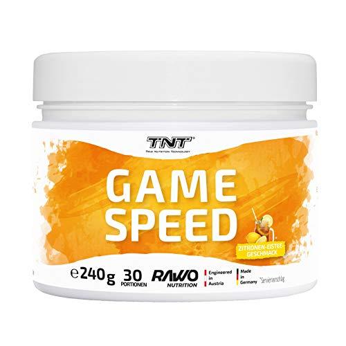 TNT Game Speed - koffeinhaltiges Nahrungsergänzungsmittel mit Mineralien - 240g - Trainingsbooster für höheren Fokus (Zitronen-Eistee)