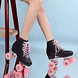 Patines de cuero artificial 2020 Patines de doble línea para mujeres hombres adultos dos líneas patines patines con cuatro colores Pu 4 ruedas línea regalos al aire libre para mujeres 7 rosa