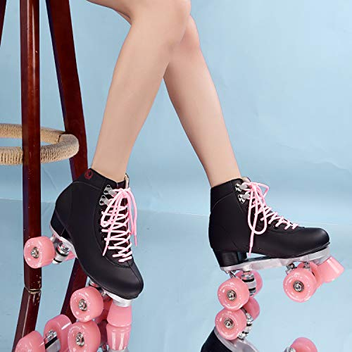 2020 Patines de cuero artificial de doble línea, patines de dos líneas, para mujeres y hombres, zapatos de patines con cuatro colores Pu 4 ruedas, para exteriores, regalos para mujeres 5.5 rosa