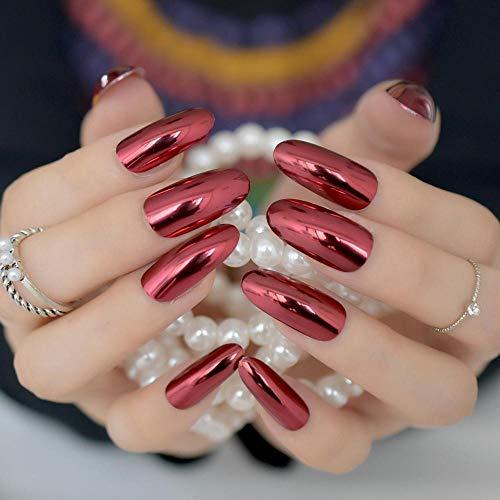 CSCH Faux ongles Mode Argent Rhombus Acrylique Faux Ongles Métal Miroir Faux Ongles Long Carré Plein Wrap Nail Conseils Salon Produit avec Autocollant