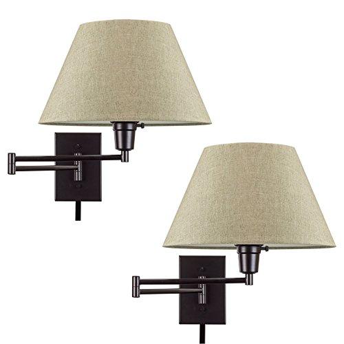 "Kira Home Cambridge 13"" Swing Arm Wall Lamp - Plug in/Wall Mount + Latte Mocha Fabric Shade, 150W 3-Way + Cord Covers, Black Finish, 2-Pack"
