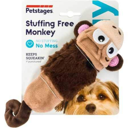 Petstages Just For Fun No Stuffing Plush LiL Squeak Monkey Dog Toy for Small Dogs