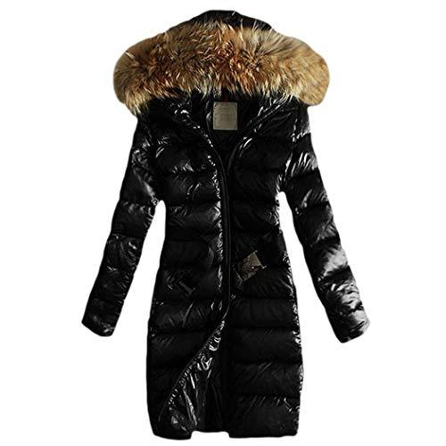 HANMAX Damen Winterjacke Wintermantel Lange Daunenjacke Jacke Outwear Frauen Winter Warm Daunenmantel Warm Long Coat Pelzkragen