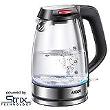 Wasserkocher AIcok 2200W Wasserkocher Glas mit Blau LED Beleuchtung, Glaswasserkocher mit...