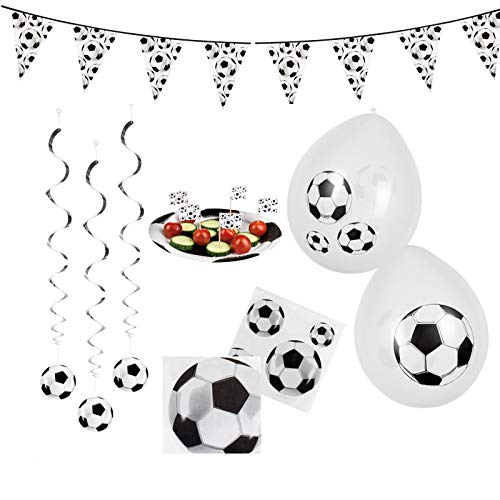 B-Creative Voetbal Voetbal Partij Decoratie Partyware Tafelgerei World Cup Bunting Ballonnen (WHITE BIRTHDAY PARTY SET BOOTS)