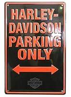 ブリキ看板 ハーレーダビッドソン Harley Davidson Parking Only インテリア 壁掛け ティンサイン インテリア ジョン・ウェイン ザ デューク 看板 雑貨 壁掛け ガレージ 店舗 クリーム レッド 30cm×40cm