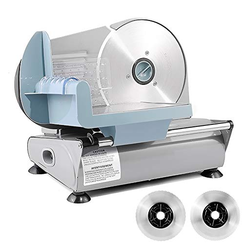 Meat Slicer for Home Use, Sophinique Electric Deli Food Slicer with 3 Removable 7.5'' Stainless Steel Blades, 150W Adjustable Thickness Slicer Machine for Meat, Cheese, Bread and Fruit