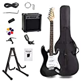 Display4top Noir Blanc Guitare électrique avec Amplificateur,Support, sac, médiator, manche, cordes de rechange, accordeur, étui et câble