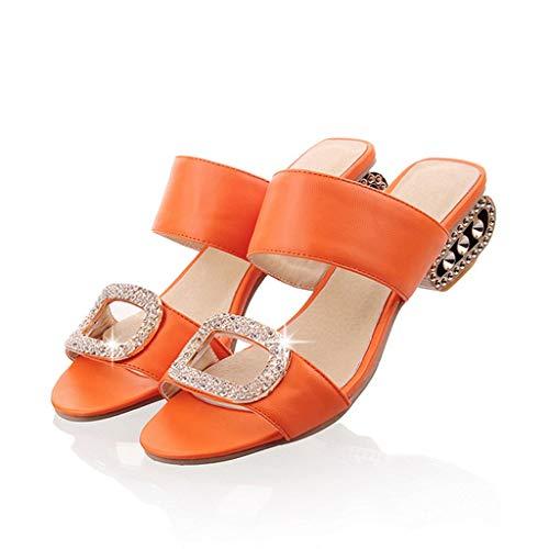TIFIY Pantolette Damen,Sommer Mode Zehentrenner Freizeit Wasser Kristall Fisch Mund Offene Sandalen Hausschuhe Schuhe Espadrilles (Orange,EU 38)