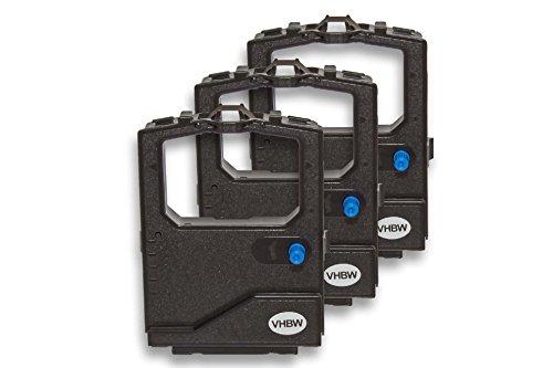 vhbw 3x Nastro inchiostrato per OKI Microline 3391, 3391 eco, 380 stampante ad aghi - nero