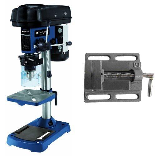 Einhell BT-BD 501 - Taladro columna (potencia 500 W, velocidad 280-2350 min-1, diámetro de broca 1,5-16 mm, profundidad de perforación 50 mm, peso 21 kg), color negro y azul + Mordaza (1,9 kg) color gris