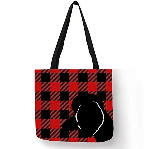 XLJJB Artist Design Schultertasche Für Frauen Pudel Silhouette In Plaid Print Handtasche Leinen Durable Fashion Beach Shopping Bag 001