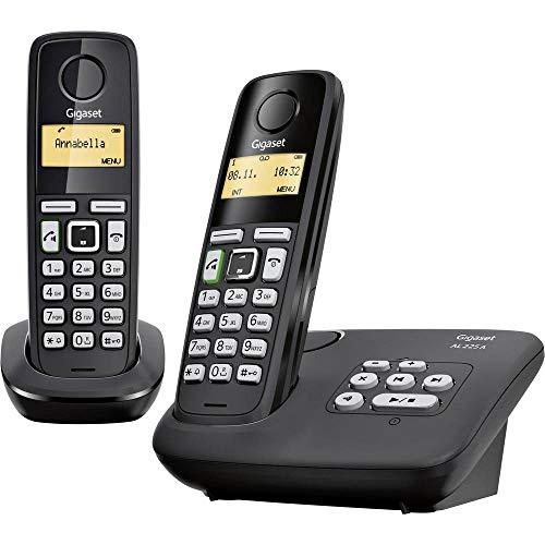Gigaset AL225A Duo DECT/Gap Schnurloses Telefon analog Anrufbeantworter, Freisprechen Schwarz