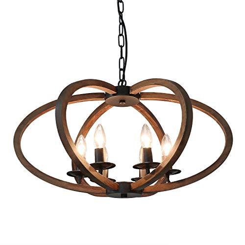 Anmytek Wood Metal Chandelier Rustic Farmhouse Style Flower Shape Wood Frame Adjustable Chain Pendant Lighting E12 Base Bulb Hanging Light Vintage Ceiling Kitchen Island Light Fixture 6-Lights (C0072)