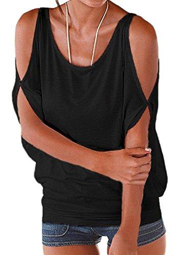 Miselon Women Cold Shoulder O-Neck Short Sleeve Sexy Loose Fit Summer Shirt Blouse Tops (Black, XL)