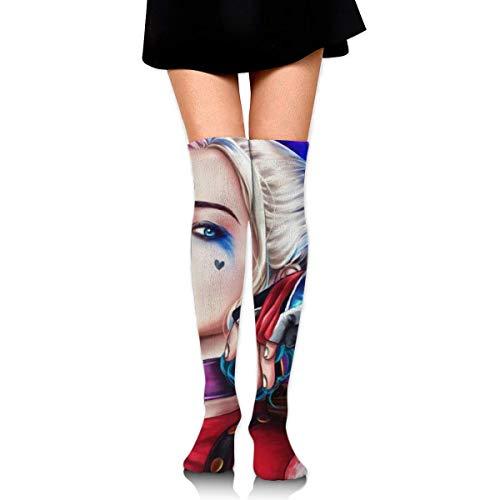 v-kook-v Harley Quinn Overknee High Strümpfe absorbieren Schweiß Wearproof Long Tube Socks