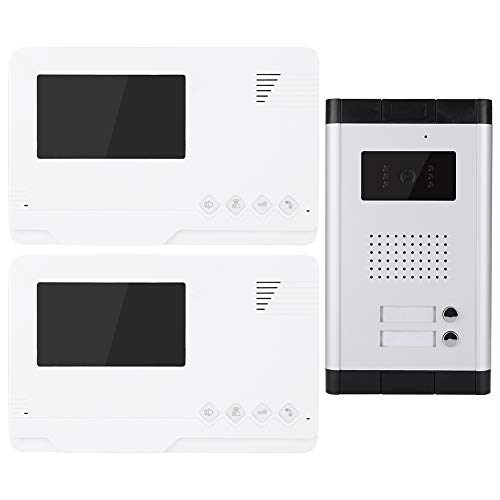 Timbre Video 4.3in TFT Door Bell Kit Video Door Putton Timbre 1 Cámara 2 Monitores Visión Nocturna 110-240V